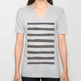 Modern gray yellow white watercolor splatters stripes Unisex V-Neck