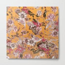 Passion Flower Floral Pattern on Orange Metal Print