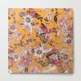 Passion Flower Floral Pattern on Orange Metal Print
