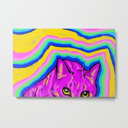 trippy kitty I Metal Print