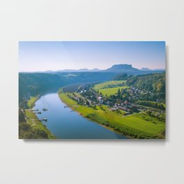 Rathen and the Elbe river Metal Print