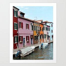 Colorful houses on Burano Island, Venice, Italy Art Print | Fine Art Travel Print Art Print