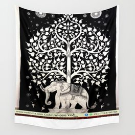 Black and White Hand Tie Dye Elephant Tree Tapestry Wall Tapestry