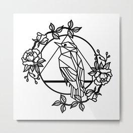 MINIMAL GEOMETRIC BIRD ROSES Metal Print