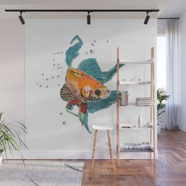 Betta Fish Scribble Art Wall Mural