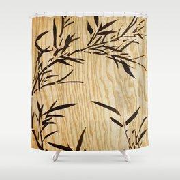 Japanese bamboo buddha wood art Shower Curtain
