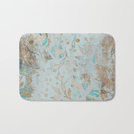 Pastel Botanical Watercolor Pattern Teal Gold Glitter Bath Mat