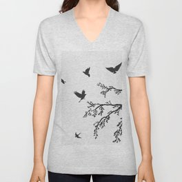 flock of flying birds on tree branch Unisex V-Neck