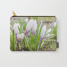 Wet flowers of crocuses. Carry-All Pouch