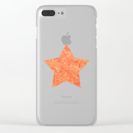 Red and orange swirls doodles Clear iPhone Case