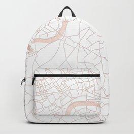 White on Rosegold London Street Map Backpack