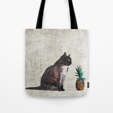 cat and pineapple Tote Bag