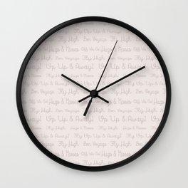Modern pastel brown soft pink travel typography Wall Clock