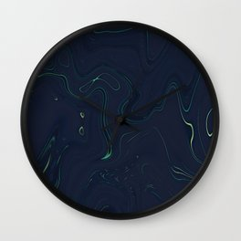 Midnight Oil Marble - Deep Blue and Vibrant Modern Marble Design Wall Clock