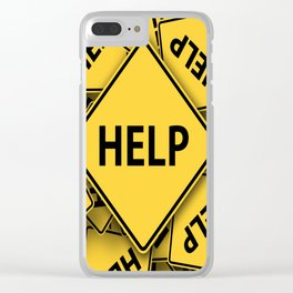 caution road sign help cross yellow Clear iPhone Case