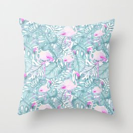 Neon pink green watercolor flamingo tropical leaves Throw Pillow