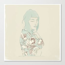 Girl with the blue hair Canvas Print