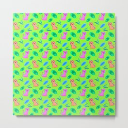 Cute little baby pink orange tigers tropical rainforest exotic green blue leaves jungle pattern Metal Print