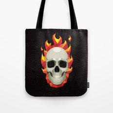 Flaming Skull Tote Bag