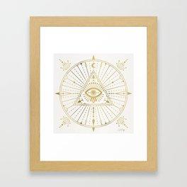 All-Seeing Eye Mandala – Gold Palette Framed Art Print