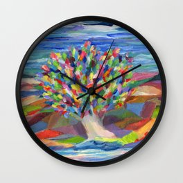 Dream Tree, a colorful acrylic expression of hopes and dreams Wall Clock