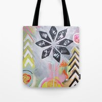 "flora bowley Tote Bags featuring ""Intermix"" Original Painting by Flora Bowley by Flora Bowley"