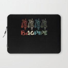 Retro Bagpipe Scottish National Tartan Day Laptop Sleeve