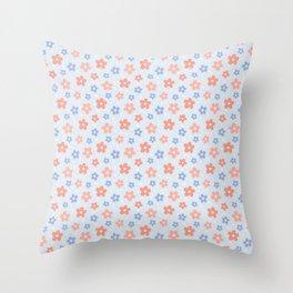 Blue Pink Flower Pattern Throw Pillow