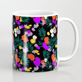 Vintage Mod Forest Floral in Black Coffee Mug