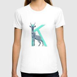 K is for Kudu Letter Alphabet Decor Design Art Pattern T-shirt