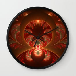 Fractal Mysterious, Warm Colors Are Shining Wall Clock