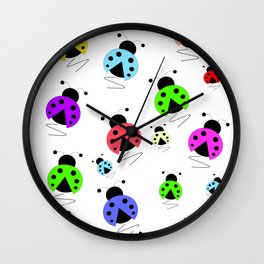 Colorful Ladybug Scatter Wall Clock