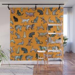 Cats shaped Marble - Black Orange Halloween Wall Mural