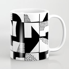 Black and White Typographical Fragmentation Cheater Quilt Coffee Mug