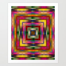 WOODSTOCK bright bold rainbow colours abstract design Art Print
