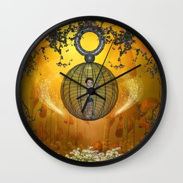 Beautiful elf in a cage  Wall Clock
