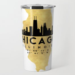 CHICAGO ILLINOIS SILHOUETTE SKYLINE MAP ART Travel Mug