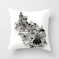 real madrid Throw Pillows featuring Madrid by Justine Lecouffe