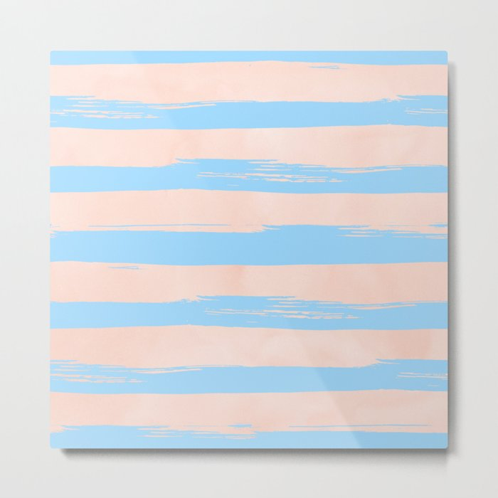 Trendy Stripes - Sweet Peach Coral on Blue Raspberry Metal Print
