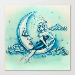 Girl on the Moon Canvas Print