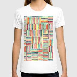 Retro Beach Chair Bright Watercolor Stripes on White T-shirt