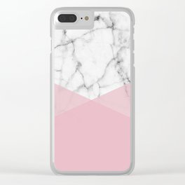 Real White marble Half Rose Pink Modern Shapes Clear iPhone Case