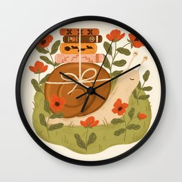 Snail Carrying Books Wall Clock