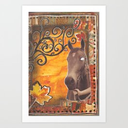 Horse and leaves Art Print