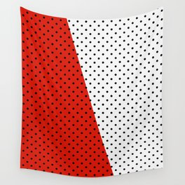 Black dots white red background Wall Tapestry