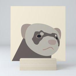 Ferret head with serious look Mini Art Print