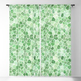 Pale Emerald and Pistachio Cobbled Patchwork Blackout Curtain