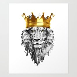 lion with a crown power king Art Print