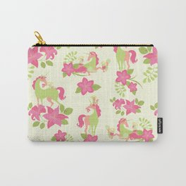 Floral Unicorn Meow-ment - Pink & Green Carry-All Pouch