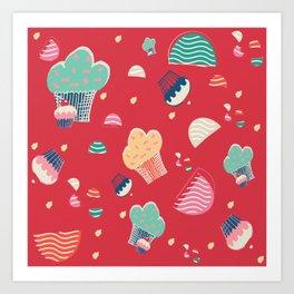 Cupcake red Art Print